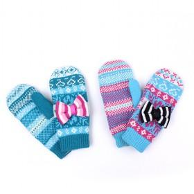 Woolen Gloves With Bow, Multi-color, Best-selling