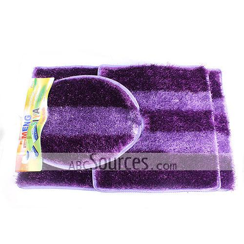 Wholesale high class purple stripes bath mat set bathroom for Big w bathroom mats
