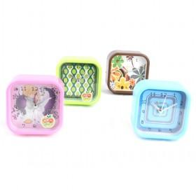Multicolor Square Mini Delightful Design Luminous Mute Quartz Alarm Clock