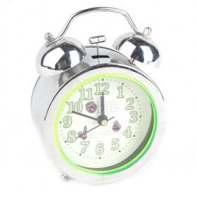 Cute Cartoon Design Double Bell Light Green Decorative Battery Operated Alarm Clock