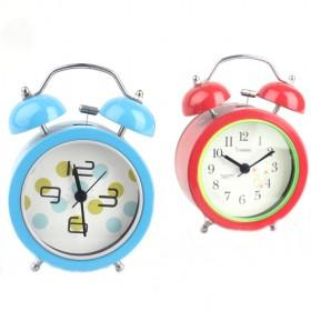 Cute Cartoon Design Double Bell Red And Blue Decorative Battery Operated Alarm Clock