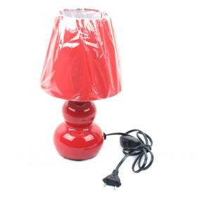 LS-21489ORN Table Lamp, Red Ceramic With Silhouette Paper Shade