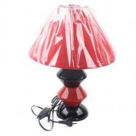 LS-21490ORN Table Lamp,Red;Black Ceramic With Silhouette Paper Shade