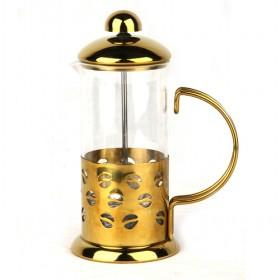 Retro Stylish 350ml Golden Plated Steel And Glass Coffee Makers/ Coffee Plunger/ French Press Maker