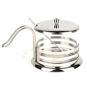 Glass Sugar Bowl With Steel Rack, And Steel Lid, Sugar Canister, Spice Jars