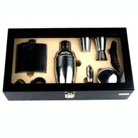 Comprehensive Elegant Wine Boxes In Black Packing Box With Window Wine Pots Cups Corks Opener Set