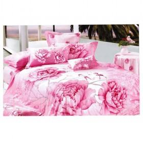 Pink Lovely Rose Printing 100% Cotton 4-piece in 1 Bedding Sets