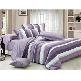 Romantic Purple And Grey Strips Bedding 4-piece Bedding Sets
