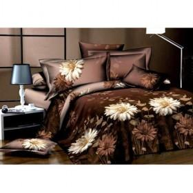 Brown Sunflower Blooming Embroidrey Satin 4-piece Bedding Sets