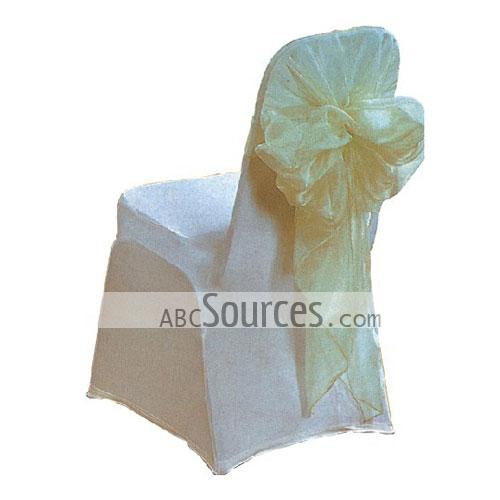 wholesale Sweet And Cute White Satin Banquet Chair Covers With Bowtie LC