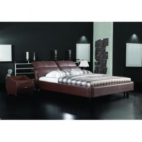 Fashionable Deep Brown Leather Bed