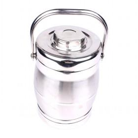 Silver Polished 2L Stainless Steel Insulated And Sealed Heat Preservation Lunch Box