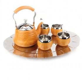 High Quality Wooden And Stainless Steel Tea Pot Set With 4pcs Stainless Steel Cups