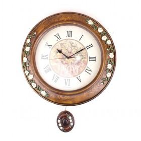Delicate Wooden Color Resin Wall Clocks For Home Decoration, Pendulum Clocks, Round Antique Clock (35cm)