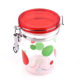 Red Lid With Spots Decoration Plastic Seal Pot