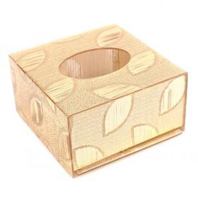 Shining Golden Cube Plastic Tissue Paper Holder With Leaf Design