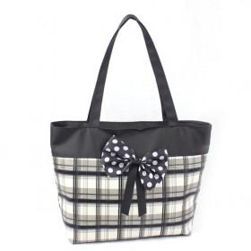 Hot Sale Cheap Tote Bags, Handbags, Black British Style Bags With Black Bowknot With White Dots