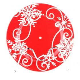 Decorated Red Ceramic Plate, 22cm Elegant Designed Serving Plate, Round Plate