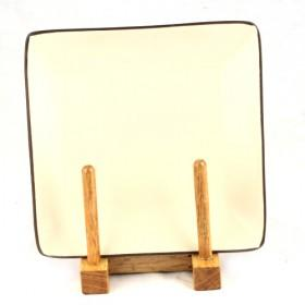 Plain Beige New Design Square Decorative Plate, 22cm Dinner Plate, Kitchen Ware
