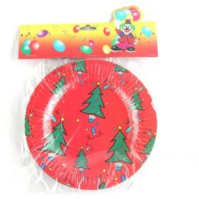 Celebrative Red Christmas Tree Decorative Disposible Christmas Paper Plate 10 Pcs One Set