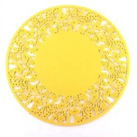Good Quality Yellow Round Fabric Carved Coaster/ Cup Mat