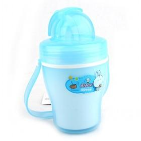 Spill Proof Design Blue Plastic Drinking Straw Cup For Kids