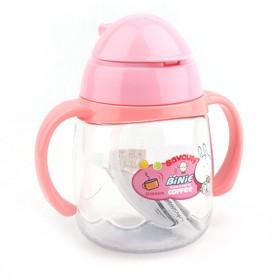 Portable Pink Plastic Kettle With Drinking Straw For Kids