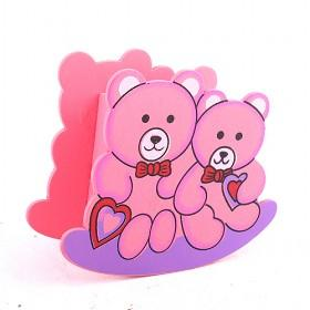 Wooden Pink Bear Pen Holder