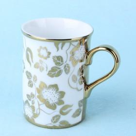 Hot Sale Large Volume Golden Floaral Ceramic Coffee Cup And Mug