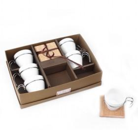 Coffee Cup Set Of 6, Cups With Metal Handle, Wooden Saucers, Hot Sale Gift Set