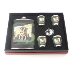 Hot Ladies Prints Army Style Wine Set, Stainless Flask And Shot Glasses Wrapped With PU Leather, Hot Sale