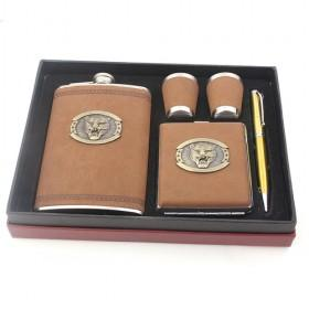 Stainless Steel Wine Set In PU Leather, Elegant Brown, Lion Metal Accessory, Hip Flask, Cigarette Case, Shot Glasses, Pen