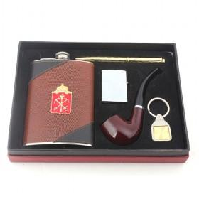 New Leather Hip Flask Set, High Quality Steel Wine Set Of Wine Pot, Lighter, Pen, Pipe, Keychain