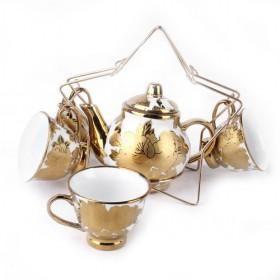 Golden Ceramic Set Of Tea Pot And 4 Cups, Peony Design, Fashion Home Decoration, Pot Cups For Sale