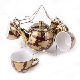 Golden Brown Ceramic Set Of Tea Pot And 4 Cups, Fashion Home Decoration, Pot Cups For Sale