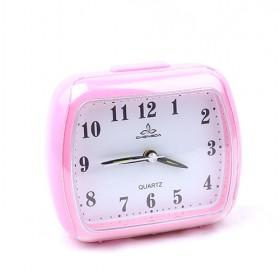 Delightful Pink Rectangle Design Plastic Stylish Mute Quartz Alarm Clock