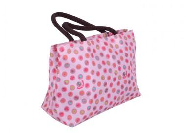 Sweet Style Light Pink With Colorful Spots Printing Decorative Renewable Shopping Bag