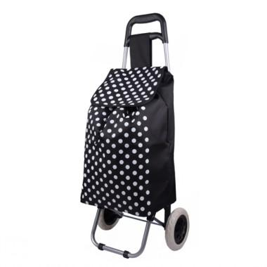 Large Size Black And White Spots Prints Decorative Non-woven Portable Renewable Shopping Cart