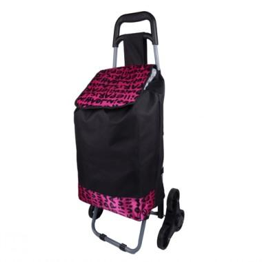 Simple Design Large Volume Black And Purple Portable Renewable Shopping Cart