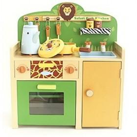 Children Yellow And Green Simulation Kitchen Pretend Toys With Light Sound