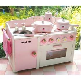 White And Pink Children Simulation Kitchen Pretend Toys With Light And Sound