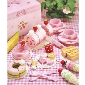 Sweet Strawberry Pink Ice Cream Design Tea Play House