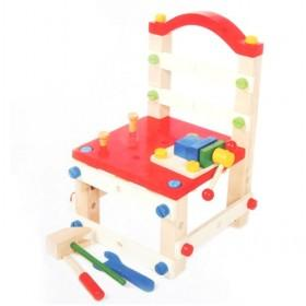 Multi-functional Red Assembly Wooden Tools Chair