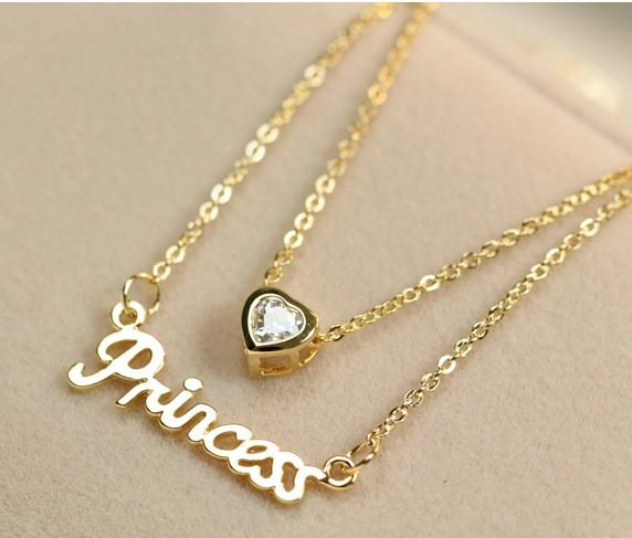 Stylish Letter Love Heart Necklace Gold