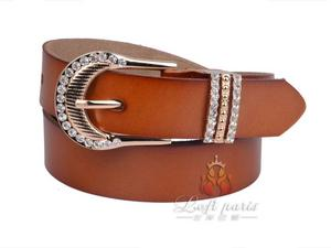 Ladies Popular Genuine Leather Belt with Diamonds Buckle