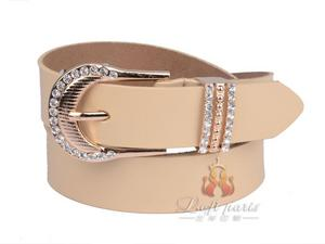 Fashion Korean Womens Leather Belt with Diamond Pin Buckle