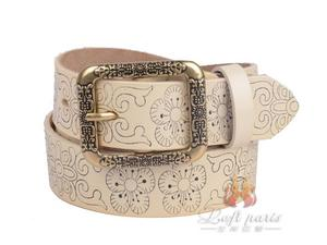Womens Retro Style Printing Belt with Pin Buckle