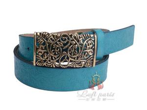 Womens genuine leather belt with slide buckle