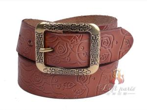 Ladies Embossed genuine leather belt with pin buckle