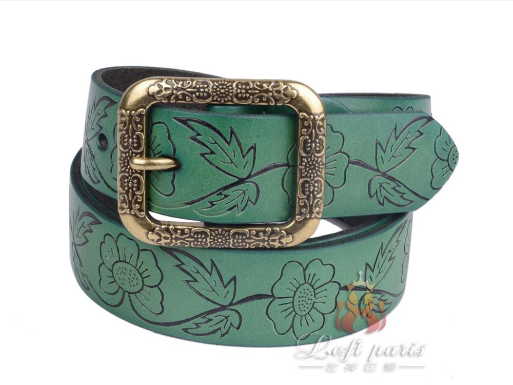 Female New Fashion Embossed Cow Leather Belt